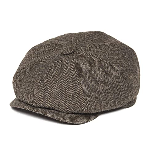 BOTVELA Men s 8 Piece Wool Blend Newsboy Flat Cap Herringbone Pattern in  Classic 5 Colors d4f34dfa31d5