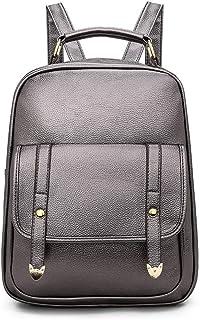 PU Backpack Travel School Shoulder Bag Daypack (Color : Silver)