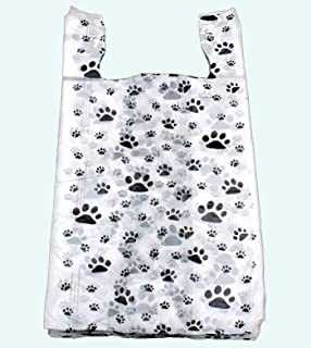 "Legendary-Yes 100 Cat or Dog Paw Print Plastic T-Shirt Bags 22"" L x 12"" W x 7"" Gusset"