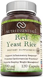 Nutri Essentials Red Yeast Rice 1200 Mg Per Serving, 120 Capsules - Supports Inflammatory Response - Promotes Cardiovascul...