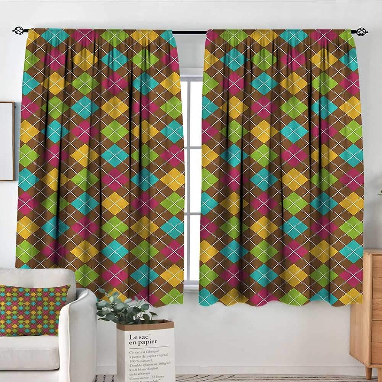 Geometric,Nursery Baby Care Curtains Bold Argyle Pattern 52 x63  Indo Treatment Panes