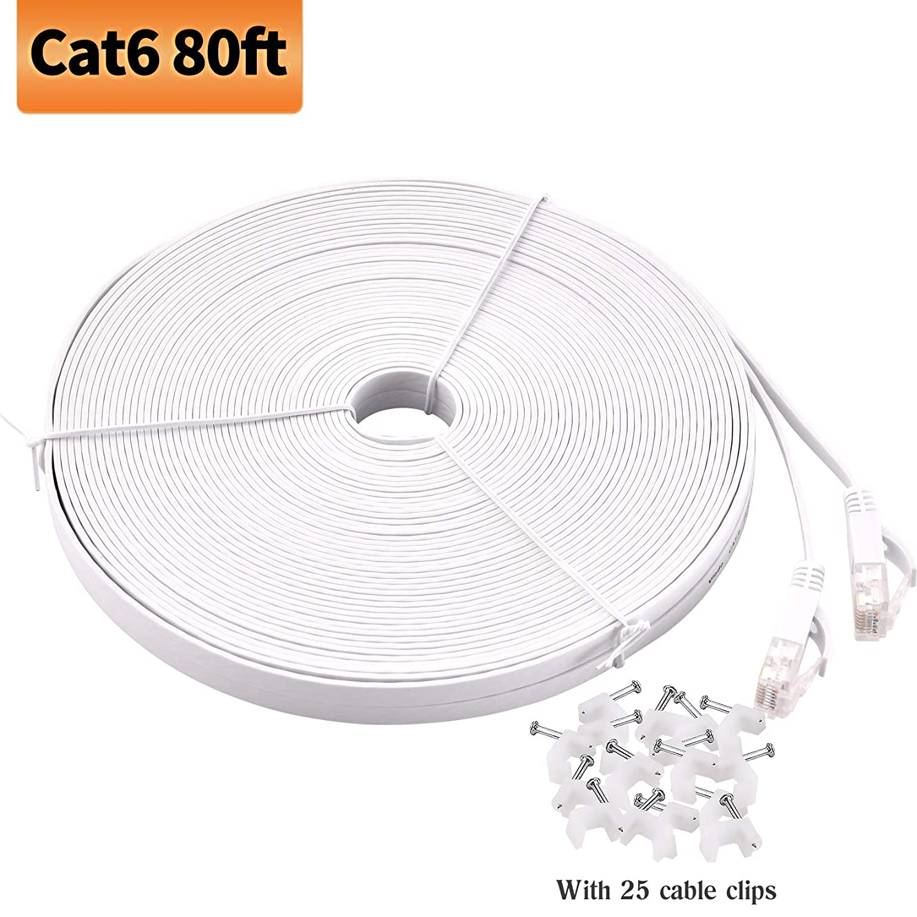 Viodo Compatible with Cat 6 Ethernet Cable,Flat Internet Network LAN Patch Cords, Solid Cat6 High Speed Computer Wire with Clips & Snagless Rj45 - More Feet & Colors Choose