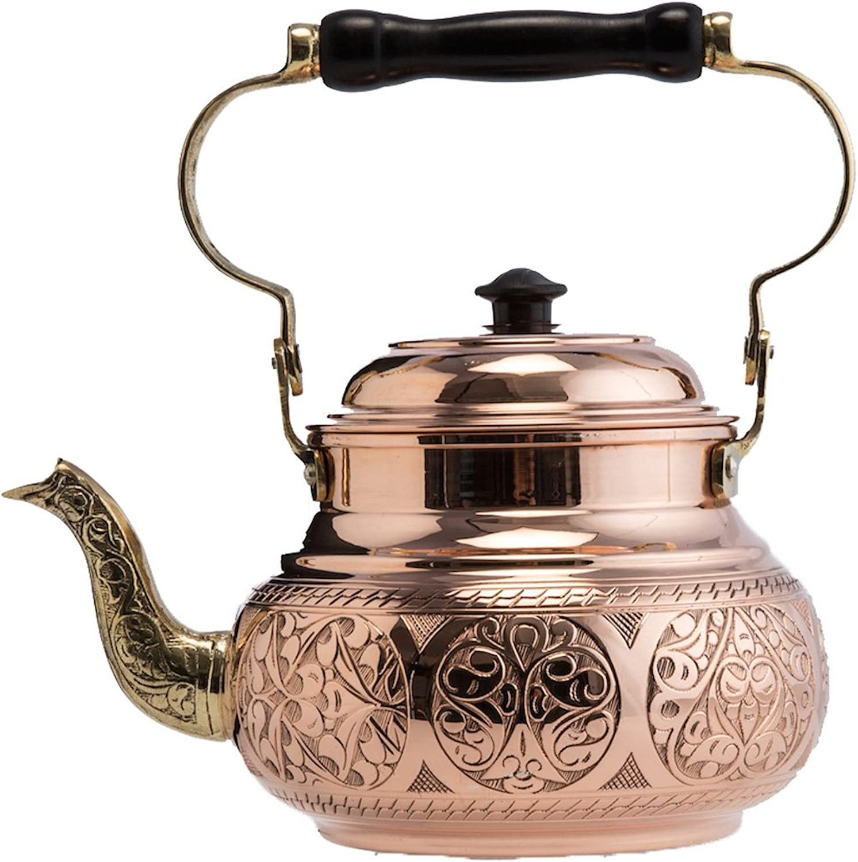(2 Variations) DEMMEX 2017 Hammered Copper Tea Pot Kettle Stovetop Teapot, 1.6-Quart (Engraved Copper)