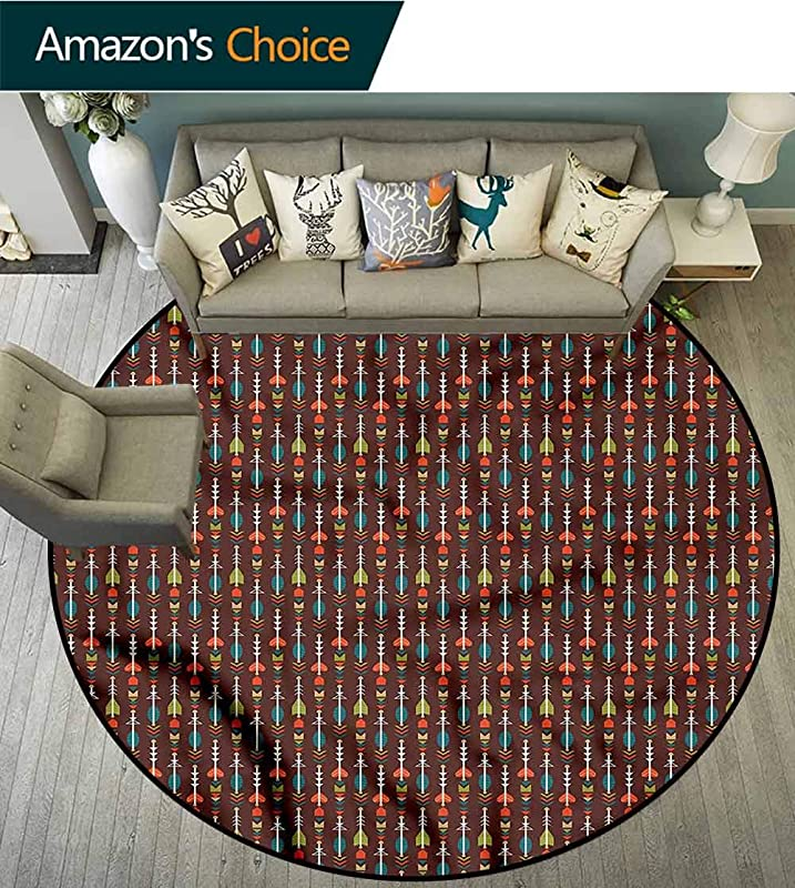 RUGSMAT Arrow Super Soft Circle Rugs For Girls Ethnic Artful Abstract Non Slip No Shedding Bedroom Soft Floor Mat Diameter 24
