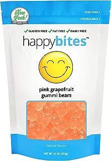 Happy Bites Pink Grapefruit Gummi Bears - Gluten Free, Fat Free, Dairy Free - Resealable Pouch (1 Pound)