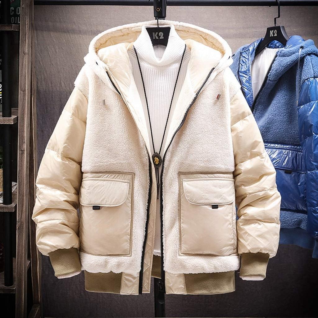 TWDYC Mens Winter Jacket Men Fleece Down Jacket for Men Hooded Coat Patchwork Windproof Streetwear Fashion Jackets (Color : Beige, Size : XX-Large)
