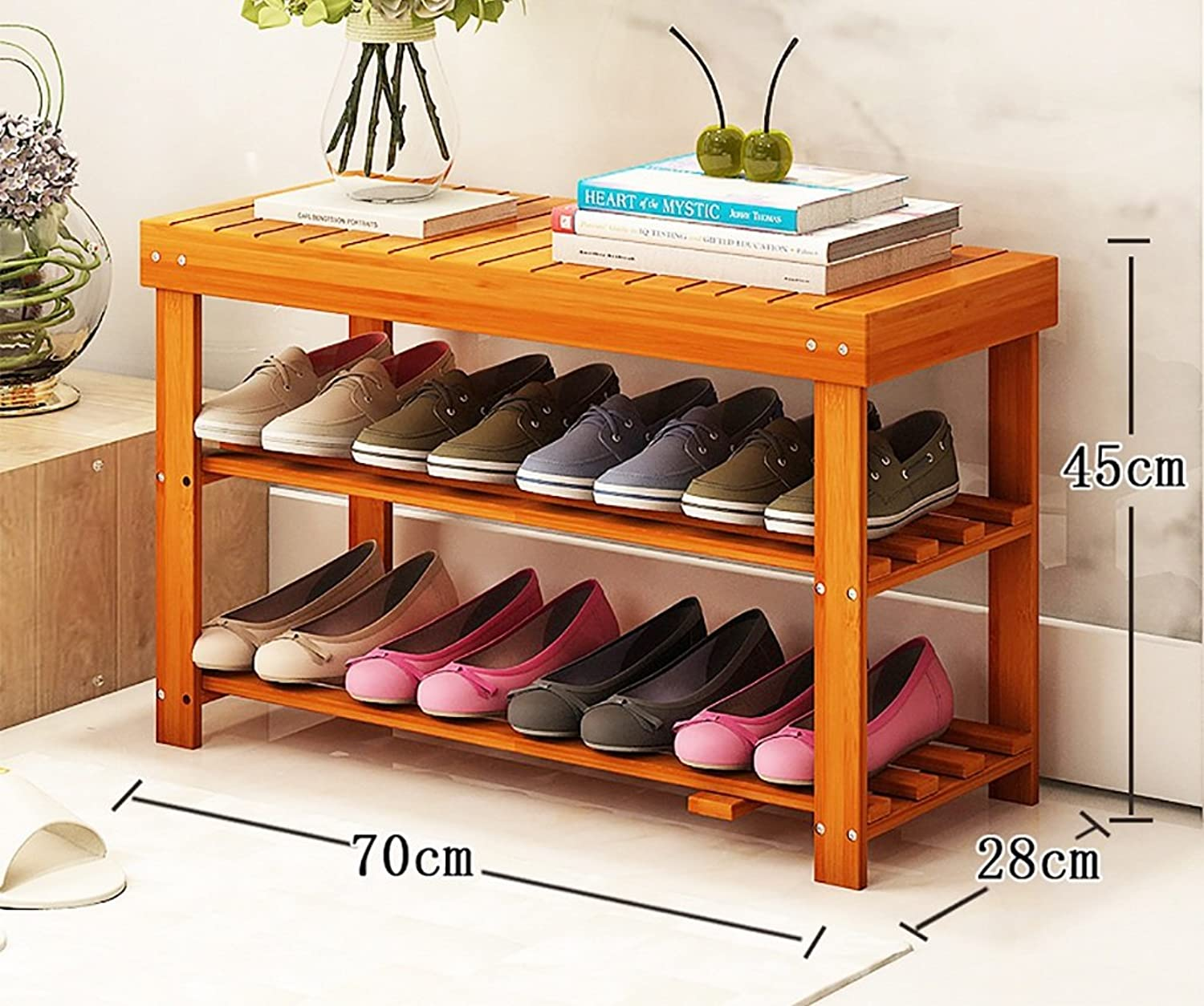 shoes Bench Organizing Rack shoes Racks Bamboo Products DIY shoes Racks Multi - Store Shelves Multi - Functional shoes Frame Creative Simple shoes Racks (Size   70CM)
