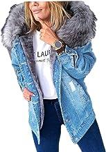 Dames gescheurd dikker pluche denim jack met capuchon Streetwear mode, gewassen warme jas met één rij knopen en zakken