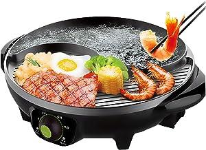 Fondue Electrique Hot Pot BBQ,2-en-1 Gril Électrique Chafing Dish Contrôle de Température Indépendant,Grande Capacité de N...