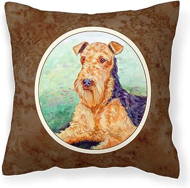Caroline's Treasures 7239PW1414 Airedale Terrier Fabric Decorative Pillow, 14Hx14W, Multicolor