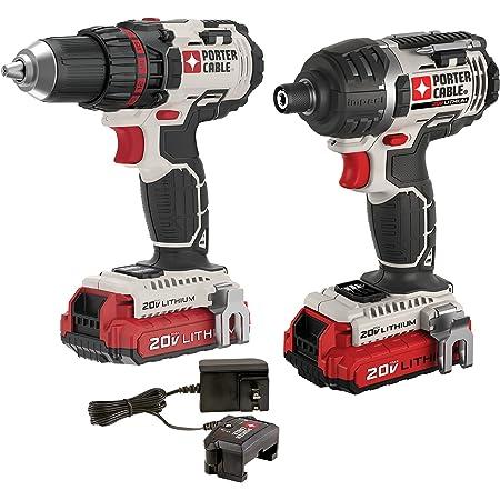 PORTER-CABLE 20V MAX Cordless Drill Combo Kit, 2-Tool (PCCK602L2)