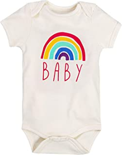 Toddler Baby Boys Girls Rainbow Graphic Short-Sleeve Onesie Bodysuit and T-Shirts | Organic Cotton one-Piece Outfits
