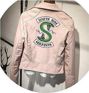 SATOSHI DUN Logo Southside Serpents Rosa/Negro PU Piel Serpientes Streetwear Leather Coat