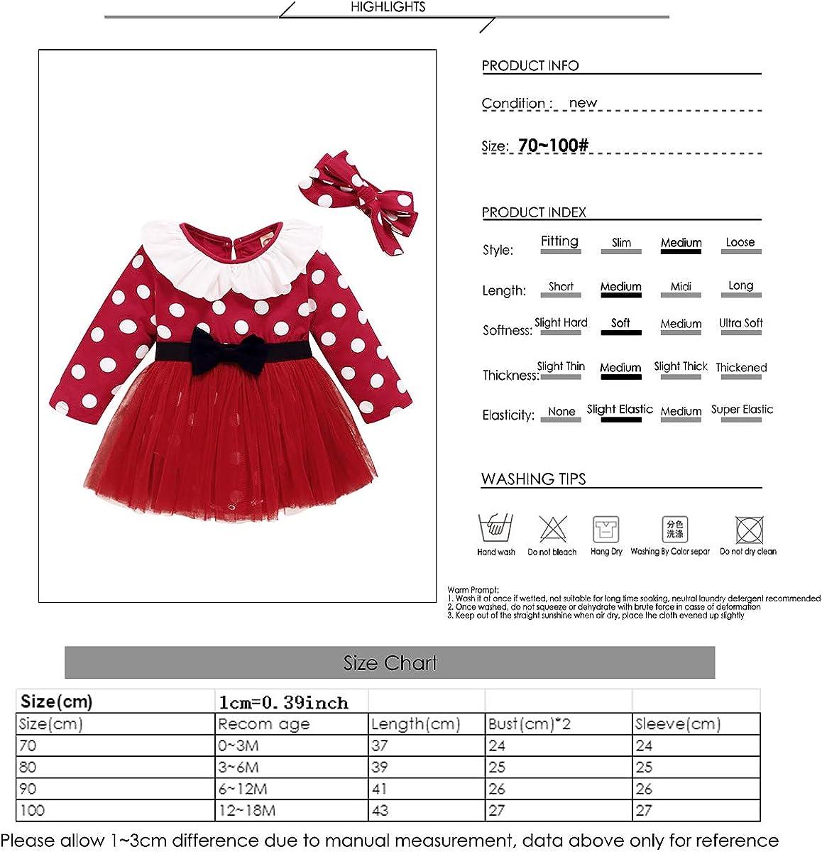 DaMohony Newborn Baby Dress Toddler Long Sleeve Polka Dotted Mesh Dress with Headband