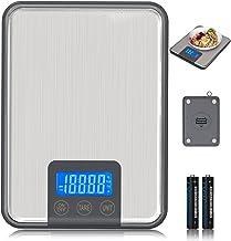 ADORIC 15kg/33lbs,Báscula de Cocina 15kg con Pantalla LCD para Cocina de Acero Inoxidable, Balanza de Alimentos Multifuncional,Color Plata(2 Baterías Incluidas) (Plata)