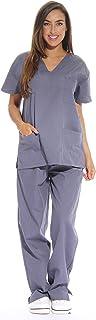 Just Love Women's Scrub Sets Six Pocket Medical Scrubs (V-Neck with Cargo Pant), Grey, 2X