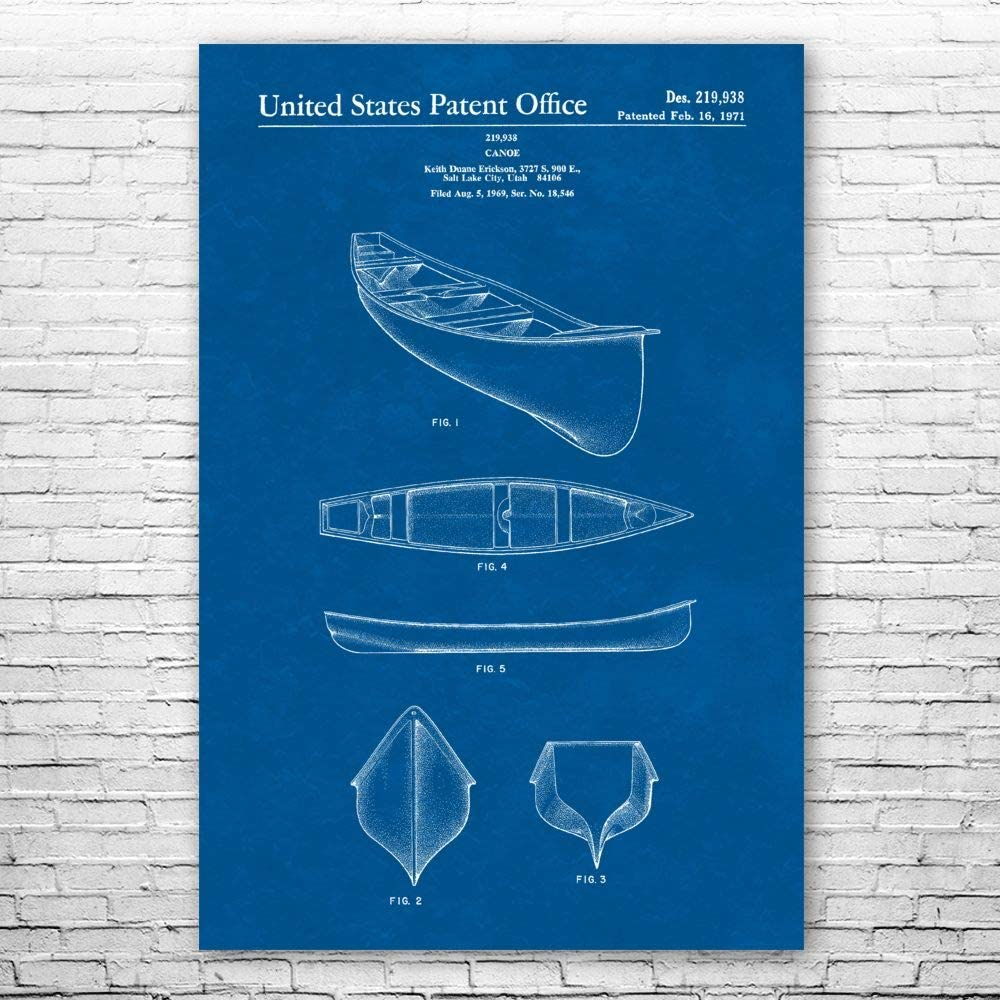 Ranking TOP18 Patent Earth Kayak Canoe Poster Gift Lake Canoeing House Max 64% OFF Print