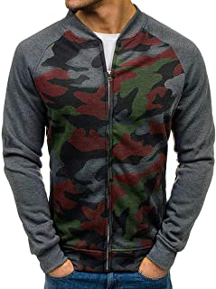 iYYVV Mens Casual Long Sleeve Pocket Slim Fit Camouflage Full Zip Bomber Jacket