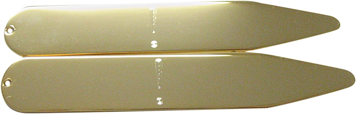 Gold Toned Etched Exclamation Mark Collar Stays