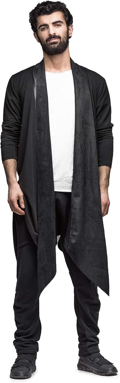 MDNT45 Men's Long Cardigan Black Maxi Sweater, Casual Longsleeve Hoodie, Gothic Cardigan, Geometric Sweater