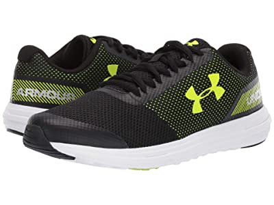 Under Armour Kids UA BGS Surge Running (Big Kid) (Black/White/High-Vis Yellow) Boys Shoes