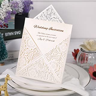 10X Cut Romantic Invitation Cards Set for Wedding Bridal Shower Birthday Beige Envelope Hollow Card Holder Inner Sheet Del...