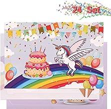 Kesote 24 Tarjetas de Invitación Unicornio en Español Tarjetas de Invitación Cumpleaños Infantil con 24 Sobres