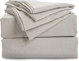 Bedsure 55% Linen & 45% Cotton Sheet Set with Up to 16 inches Deep Pocket Fitted Sheet- Queen Size(90 x 90 inches), 4-Piece Ultra Soft Breathable Hypoallergenic Bed Sheets, Greige Natural Color