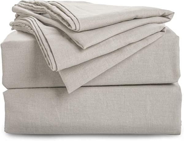 Bedsure 55 Linen 45 Cotton Sheet Set With Up To 16 Inches Deep Pocket Fitted Sheet Queen Size 90 X 90 Inches 4 Piece Ultra Soft Breathable Hypoallergenic Bed Sheets Greige Natural Color