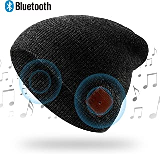NICEWELL Wireless Bluetooth Beanie Musical Hat Bulit in Headphones and Speakers, Unique for Teenagers and Unisex Adult (Bl...