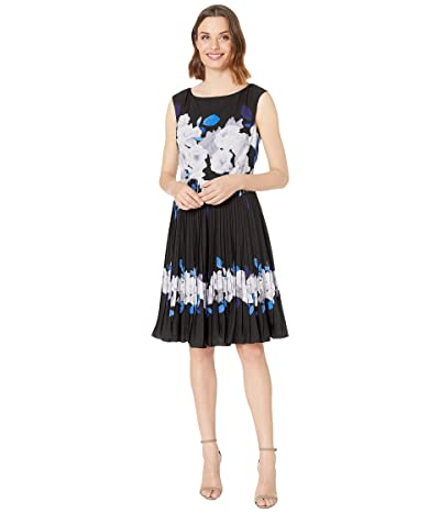 Adrianna Papell Shadow Rose Pleated Dress (Blue Multi) Women