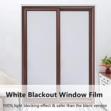 VELIMAX White Blackout Window Film, 100% Light Blocking Window Cover, Opaque Window Cling Vinyl, Privacy Film for Glass Windo