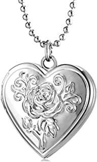 YOUFENG Love Heart Locket Necklace Pendant Flower Memories Photo Locket Charms Living Memory Locket Gold Plated (Silver Flower Locket)