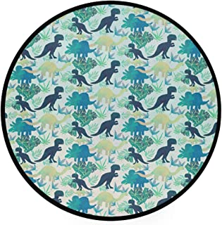 Round Area Rug Dinosaurs Pattern Art Deco Non-Slip Backing Playing Floor Mat for Living Room Bedroom, 3 Feet Diameter