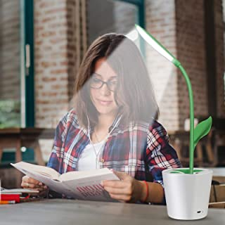 iEGrow Flexible USB Touch LED Desk Lamp with 3-Level Dimmer and Plant Pencil Holder(Dark Green)