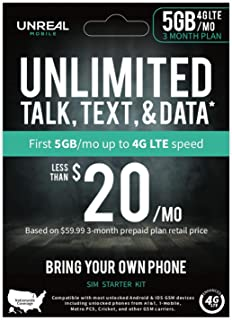 UNREAL Mobile 3-Month Prepaid 3-in-1 LTE SIM Kit - Unlimited, Talk, Text & Data (5GB/mo 4G LTE Data)