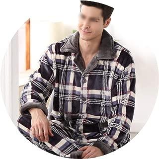 Winter Pajamas Men Thick Fleece Pajama Sets Luxury Warm Sleepwear Plaid Suits Man Casual Home Pijama