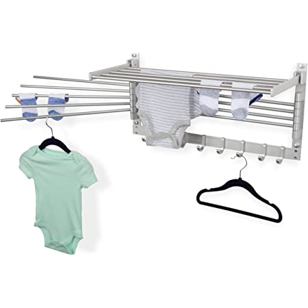 brightmaison Space Saver Wall Mounted Laundry Clothes Drying Rack with Hooks and Swing Arms Metal Silver Space Saver