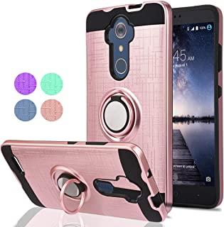 ZTE Max XL/ZTE ZMAX Pro/ZTE Carry/ZTE Imperial Max/Max Duo LTE Phone Case,Ymhxcy 360 Degree Rotating Ring & Bracket Dual Layer Resistant Back Cover for ZTE Z981-ZH Rose Gold