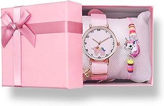 Sponsored Ad - Girls Unicorn Watch with Pink Gift Box and Unicorn Bracelet, Pink Nylon Band Analog Wrist Watch