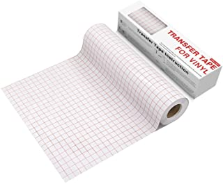 YRYM HT Clear Vinyl Transfer Paper Tape Roll-12 x 50 FT w/Alignment Grid Application Tape..