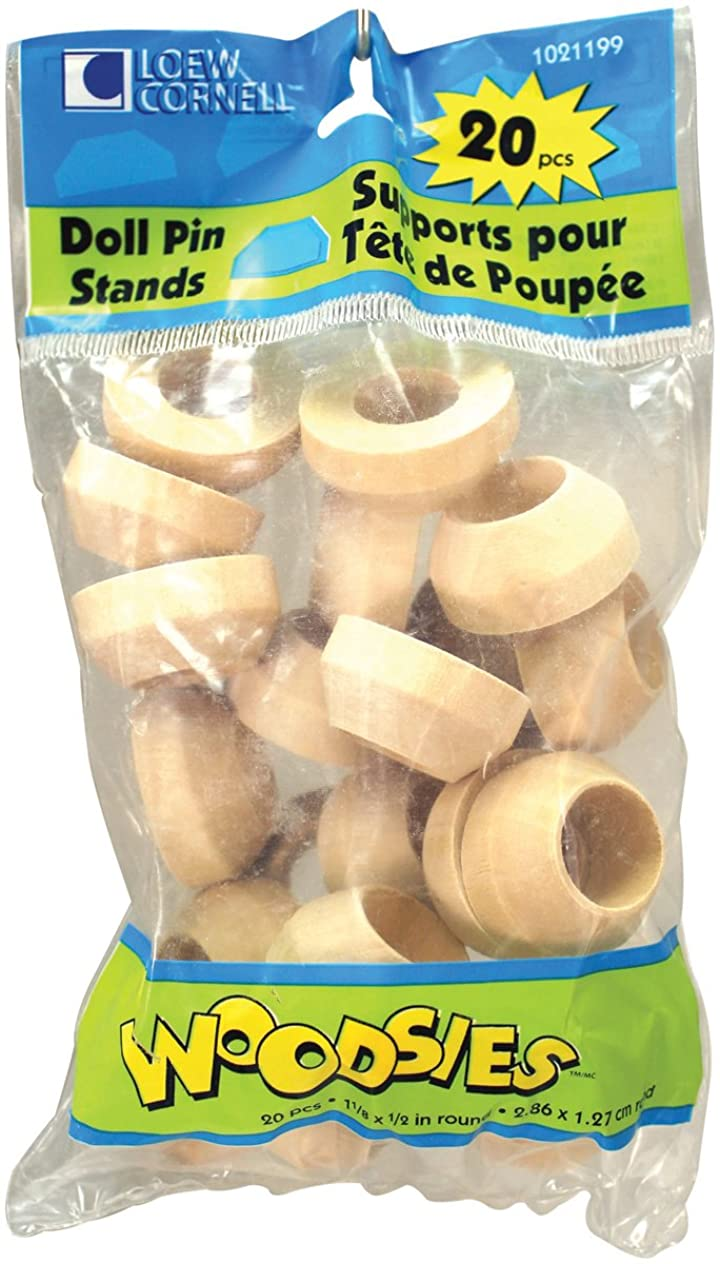 Loew-Cornell Simply Art Wood Round Doll Pin Stands 20 ct.