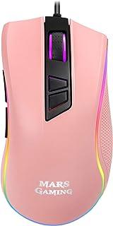 Mars Gaming MM218 - Mouse ottico per PC 10000 DPI, illuminazione RGB, edizione PINK