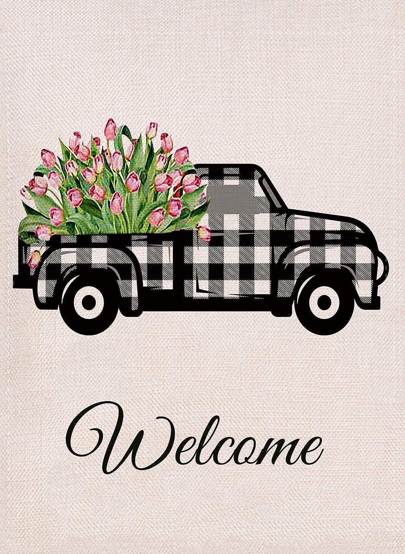 Dyrenson Flower Truck Farmhouse Garden Flag Welcome Spring Tulips Double Sided, Buffalo Check Plaid Burlap White Black House Yard Décor, Decorative Fall Summer Small Seasonal Outdoor Flag 12 x 18