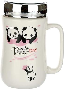 SATYAM KRAFT Panda Ceramic Coffee Mug with Glass Mirror Lid - 1 Piece, White, 400 ml