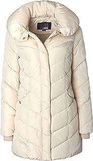 Sportoli Womens Winter Fleece Lined Chevron Quilted Puffer Jacket Coat with Hood