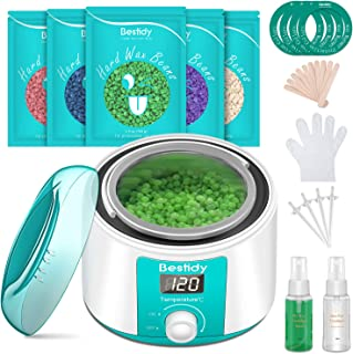 Bestidy Waxing Kit for Women and Men Home Wax Warmer with 5 Pack Hard Wax Beans Hot Wax Hair Removal for Brazilian Body Un...