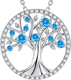 ELDA & CO. Tree of Life Necklace May Birthstone Emerald Jewelry Birthday Gifts for Women Pearl Peridot Blue Sapphire Pink Tourmaline Citrine Aquamarine Sterling Silver Fine Jewelry