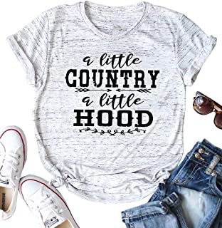 BANGELY Country Music T Shirt Letter Graphic Tees for Women A Little Country A Little Hood Cute Shirts Summer Vacation Tops