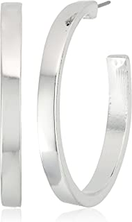 "GUESS ""Basic"" Silver Logo Open Hoop Earrings"